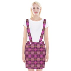 Mod Pink Purple Yellow Square Pattern Braces Suspender Skirt