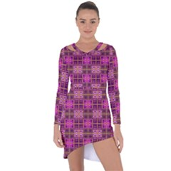 Mod Pink Purple Yellow Square Pattern Asymmetric Cut Out Shift Dress