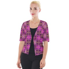 Mod Pink Purple Yellow Square Pattern Cropped Button Cardigan