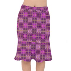 Mod Pink Purple Yellow Square Pattern Mermaid Skirt