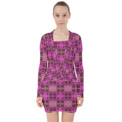 Mod Pink Purple Yellow Square Pattern V Neck Bodycon Long Sleeve Dress