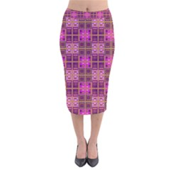 Mod Pink Purple Yellow Square Pattern Velvet Midi Pencil Skirt