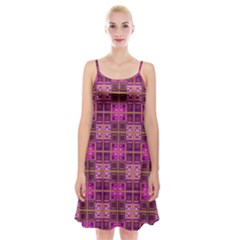 Mod Pink Purple Yellow Square Pattern Spaghetti Strap Velvet Dress