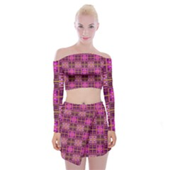 Mod Pink Purple Yellow Square Pattern Off Shoulder Top With Mini Skirt Set