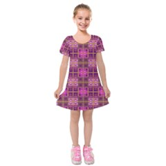 Mod Pink Purple Yellow Square Pattern Kids  Short Sleeve Velvet Dress