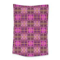Mod Pink Purple Yellow Square Pattern Small Tapestry