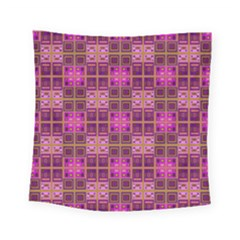 Mod Pink Purple Yellow Square Pattern Square Tapestry (small)