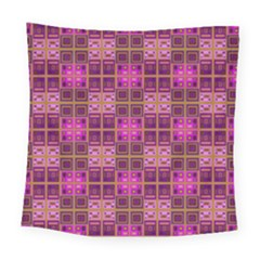 Mod Pink Purple Yellow Square Pattern Square Tapestry (large)