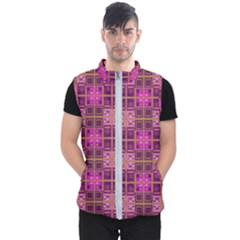 Mod Pink Purple Yellow Square Pattern Men s Puffer Vest