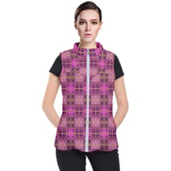 Mod Pink Purple Yellow Square Pattern Women s Puffer Vest