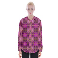 Mod Pink Purple Yellow Square Pattern Womens Long Sleeve Shirt