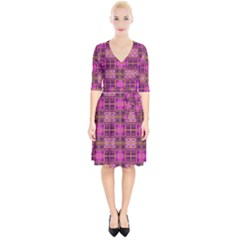 Mod Pink Purple Yellow Square Pattern Wrap Up Cocktail Dress