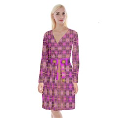 Mod Pink Purple Yellow Square Pattern Long Sleeve Velvet Front Wrap Dress