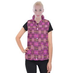 Mod Pink Purple Yellow Square Pattern Women s Button Up Vest