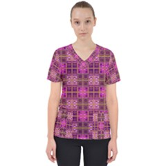 Mod Pink Purple Yellow Square Pattern Women s V Neck Scrub Top