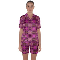 Mod Pink Purple Yellow Square Pattern Satin Short Sleeve Pyjamas Set