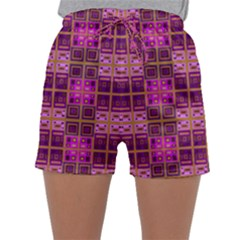 Mod Pink Purple Yellow Square Pattern Sleepwear Shorts