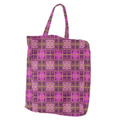 Mod Pink Purple Yellow Square Pattern Giant Grocery Tote