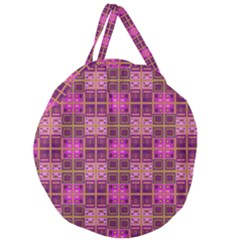 Mod Pink Purple Yellow Square Pattern Giant Round Zipper Tote