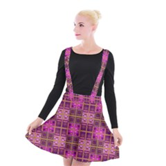 Mod Pink Purple Yellow Square Pattern Suspender Skater Skirt