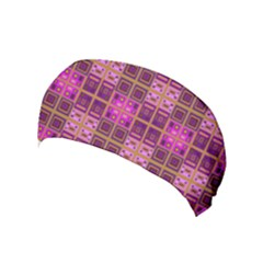 Mod Pink Purple Yellow Square Pattern Yoga Headband