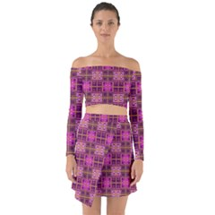 Mod Pink Purple Yellow Square Pattern Off Shoulder Top With Skirt Set