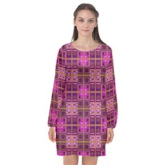Mod Pink Purple Yellow Square Pattern Long Sleeve Chiffon Shift Dress