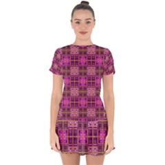Mod Pink Purple Yellow Square Pattern Drop Hem Mini Chiffon Dress