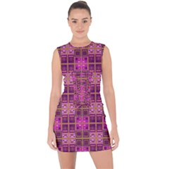 Mod Pink Purple Yellow Square Pattern Lace Up Front Bodycon Dress