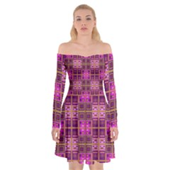 Mod Pink Purple Yellow Square Pattern Off Shoulder Skater Dress
