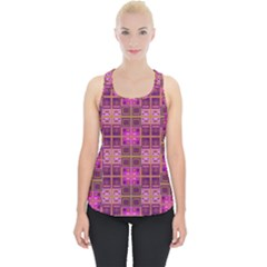 Mod Pink Purple Yellow Square Pattern Piece Up Tank Top