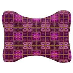 Mod Pink Purple Yellow Square Pattern Velour Seat Head Rest Cushion