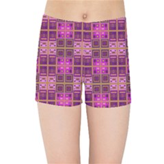 Mod Pink Purple Yellow Square Pattern Kids Sports Shorts