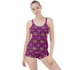 Mod Pink Purple Yellow Square Pattern Boyleg Tankini Set