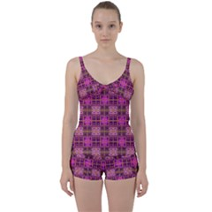 Mod Pink Purple Yellow Square Pattern Tie Front Two Piece Tankini