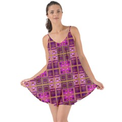 Mod Pink Purple Yellow Square Pattern Love The Sun Cover Up