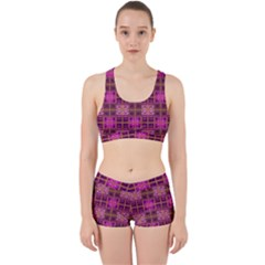 Mod Pink Purple Yellow Square Pattern Work It Out Gym Set