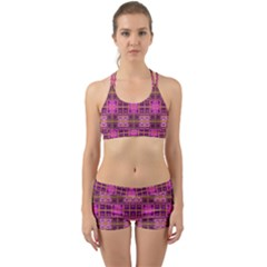 Mod Pink Purple Yellow Square Pattern Back Web Gym Set