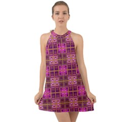 Mod Pink Purple Yellow Square Pattern Halter Tie Back Chiffon Dress