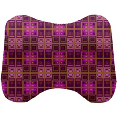 Mod Pink Purple Yellow Square Pattern Head Support Cushion