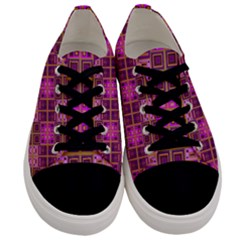 Mod Pink Purple Yellow Square Pattern Men s Low Top Canvas Sneakers
