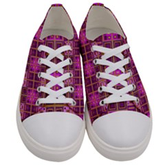 Mod Pink Purple Yellow Square Pattern Women s Low Top Canvas Sneakers