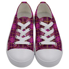 Mod Pink Purple Yellow Square Pattern Kids  Low Top Canvas Sneakers