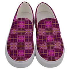 Mod Pink Purple Yellow Square Pattern Men s Canvas Slip Ons