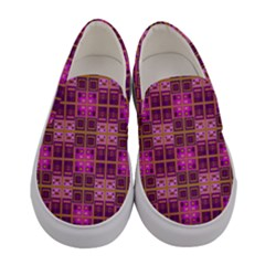 Mod Pink Purple Yellow Square Pattern Women s Canvas Slip Ons