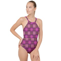 Mod Pink Purple Yellow Square Pattern High Neck One Piece Swimsuit