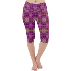 Mod Pink Purple Yellow Square Pattern Lightweight Velour Cropped Yoga Leggings