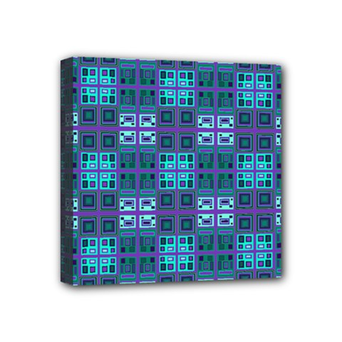 Mod Purple Green Turquoise Square Pattern Mini Canvas 4  X 4  (stretched)
