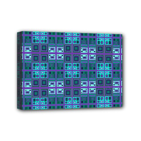 Mod Purple Green Turquoise Square Pattern Mini Canvas 7  X 5  (stretched)