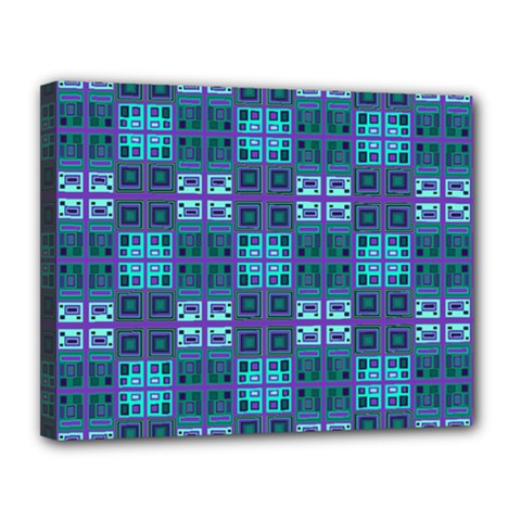 Mod Purple Green Turquoise Square Pattern Canvas 14  X 11  (stretched)